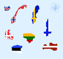nordic and baltic countries of europe vector