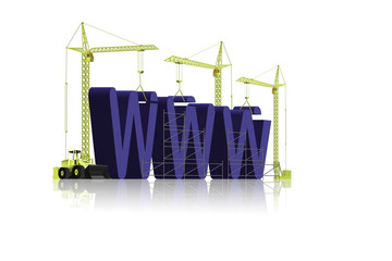 website building WWW under construction in blue