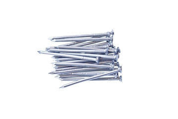 Pile of iron nails isolated on white
