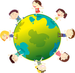 Kids on the globe