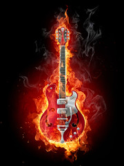 Poster de jardin Flamme Burning guitar