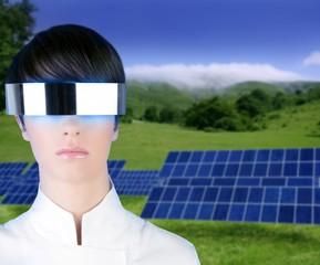 silver futuristic glasses woman portrait solar plates