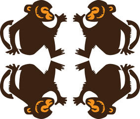four monkeys vector illustration