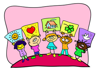 Children holding up pictures with symbols.