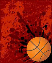 Grungy basketball background red