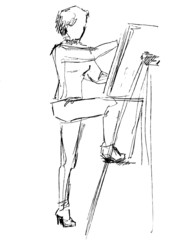 at an easel