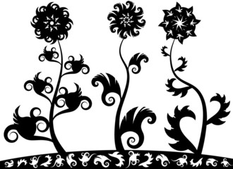 silhouette ornamental flowers