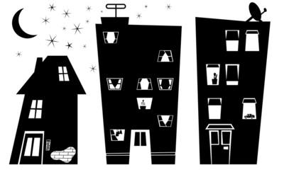 night houses silhouette
