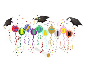Ballons with Graduation on them,  to celebrate your great day!