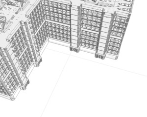 edifici 3d wireframe