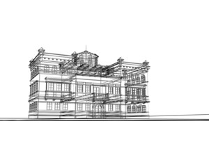 edificio 3d wireframe