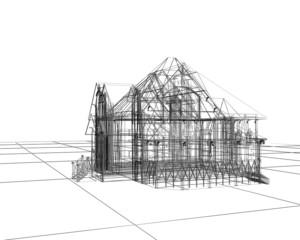 casa 3d wireframe