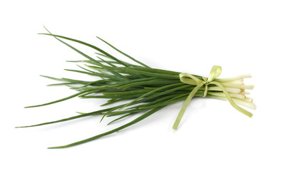 A bunch of spring onions, tied with a ribbon
