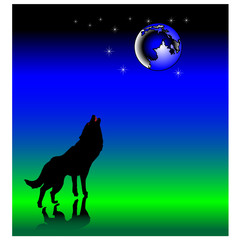 wolf howling at the moon.Vector