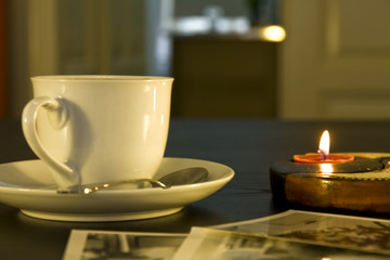 cup of coffe and candle