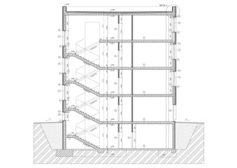 Cross section of small office building.
