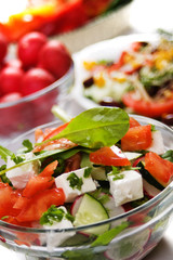Cheese salad with fresh vegetables