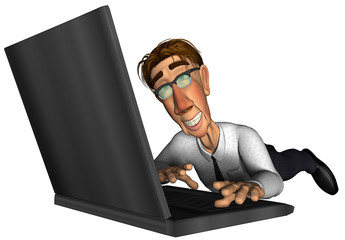 3d business man laptop cartoon on the floor
