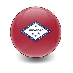 Esfera brillante con bandera Arkansas