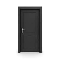 Closed Single Black Door