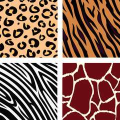 Animal pattern - tiger, zebra, giraffe, leopard. VECTOR