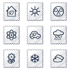 Ecology web icons set 2, white stamp series