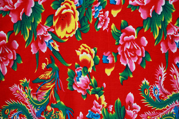 Closeup of retro tapestry fabric pattern