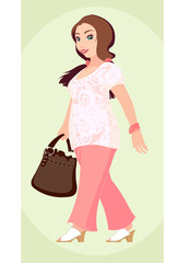 plus-size fashion girl,vector without gradient