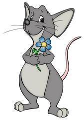 Maus, Ratte, Blume, Liebe, verliebt, Valentinstag, Geschenk