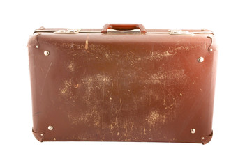 Old scratched suitcase isolated on white background