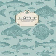 retro fish pattern (background behind label tiles seamlessly)