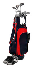 Two color golf clubs bag and boots