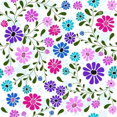 Seamless pattern with handwork flowers