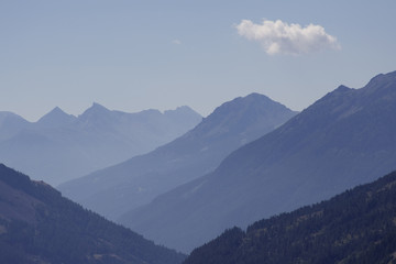 Mountain, distant blue mountains. French Alps