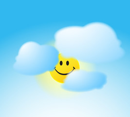 Smile face sun with a clouds