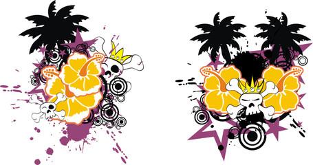 tropical flower skull