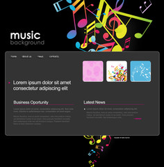 Website template with notes.