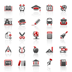 red education icons - set 5