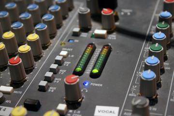 Sound mixer close up view.