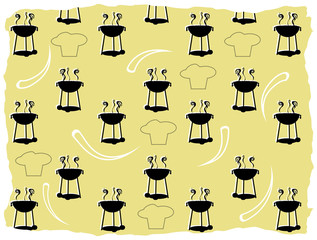 Abstract BBQ cooking pattern silhouette chef outline