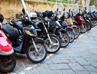 Row of the motorcycles