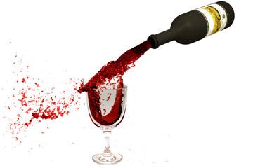 Wine flowing from a bottle in a wine glass