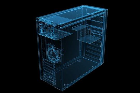 ATX MID TOWER CASE 3D xray blue transparent