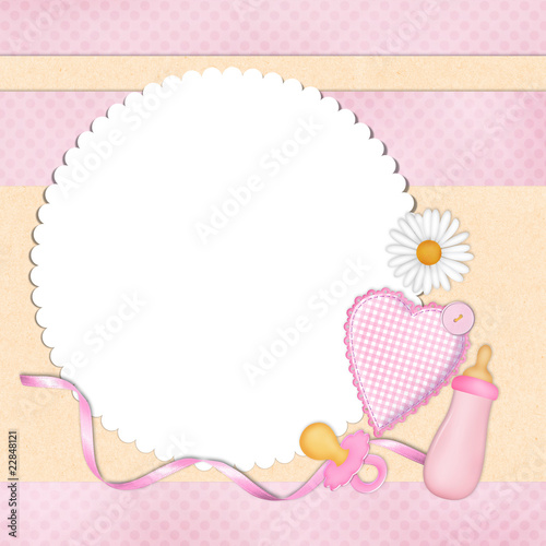 Background for baby girl with frame\