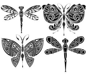 Set of tattoo butterflies and dragonflies 3