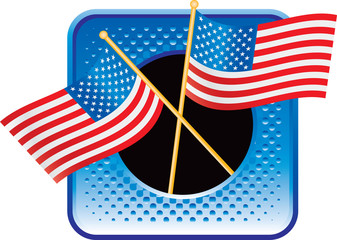 american flags blue halftone web button