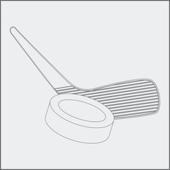 hockey stick and puck sketch