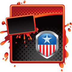 patriot shield red and black halftone grungy ad