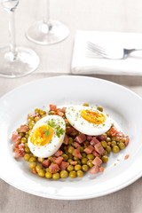 egg dish with ham and peas
