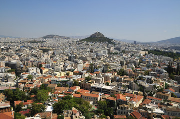 overall view on Athens with tops Acropolis